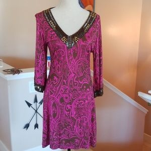 Krista Lee Boutique Pink Brown Beads Print Dress S